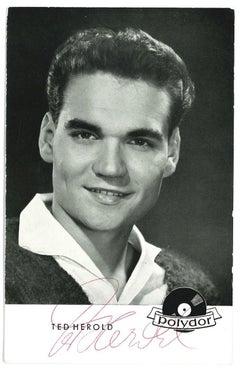 Autograph Portrait of Ted Herold - Vintage b/w Postcard - 1960s