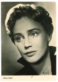 Autographed Portrait by Maria Schell - Vintage b/w Postcard - 1950s