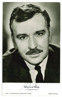 Autographed Portrait of Bernhard Wicki - Vintage b/w Postcard - 1950s