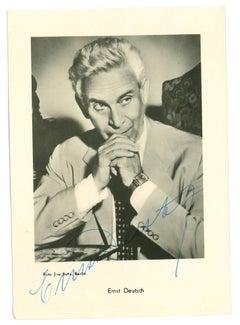 Autographed Portrait of Ernst Deutsch - Vintage b/w Postcard - 1950s