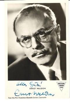 Autographed Portrait of Ernst Waldow - Vintage b/w Postcard - 1950s