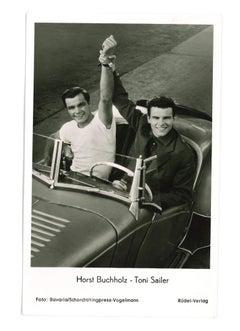 Autographed Portrait of Horst Buchholz-Toni Sailer - Vintage b/w Postcard- 1950s