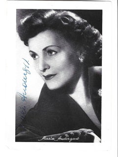 Autographed Portrait of Maria Andergast - Vintage b/w Postcard - 1950s