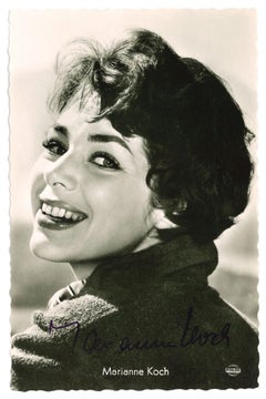 Autographed Portrait of Marianne Koch- Vintage b/w Postcard - 1950s