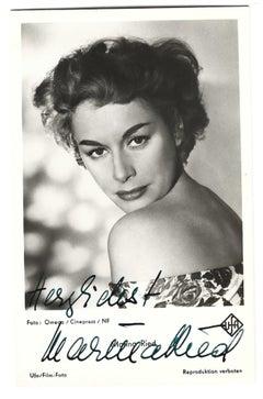 Autographed Portrait of Marina Ried - Vintage b/w Postcard - 1950s