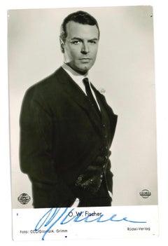 Autographed Portrait of O. W. Fischer - Vintage b/w Postcard - 1950s