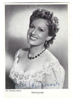 Autographed Portrait of Ruth Leuwerik - Vintage b/w Postcard - 1950s