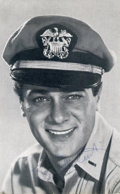 Autographed Portrait of Tony Curtis - Vintage b/w Postcard - 1959