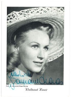 Autographed Portrait of Waltraut Haas - Vintage b/w Postcard - 1950s