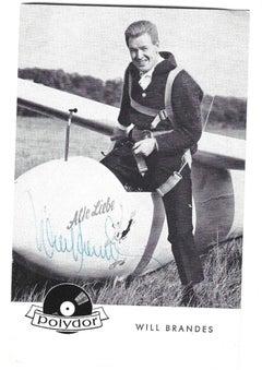 Autographed Portrait of Will Brandes - Vintage b/w Postcard - 1950s