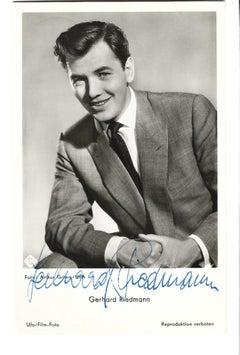 Autographed Postcard by Gerhard Riedmann - Vintage b/w Postcard - 1950s