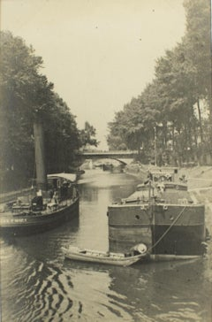 Barge Boats nearby Paris 1926 - Silver Gelatin Black and White Photograph