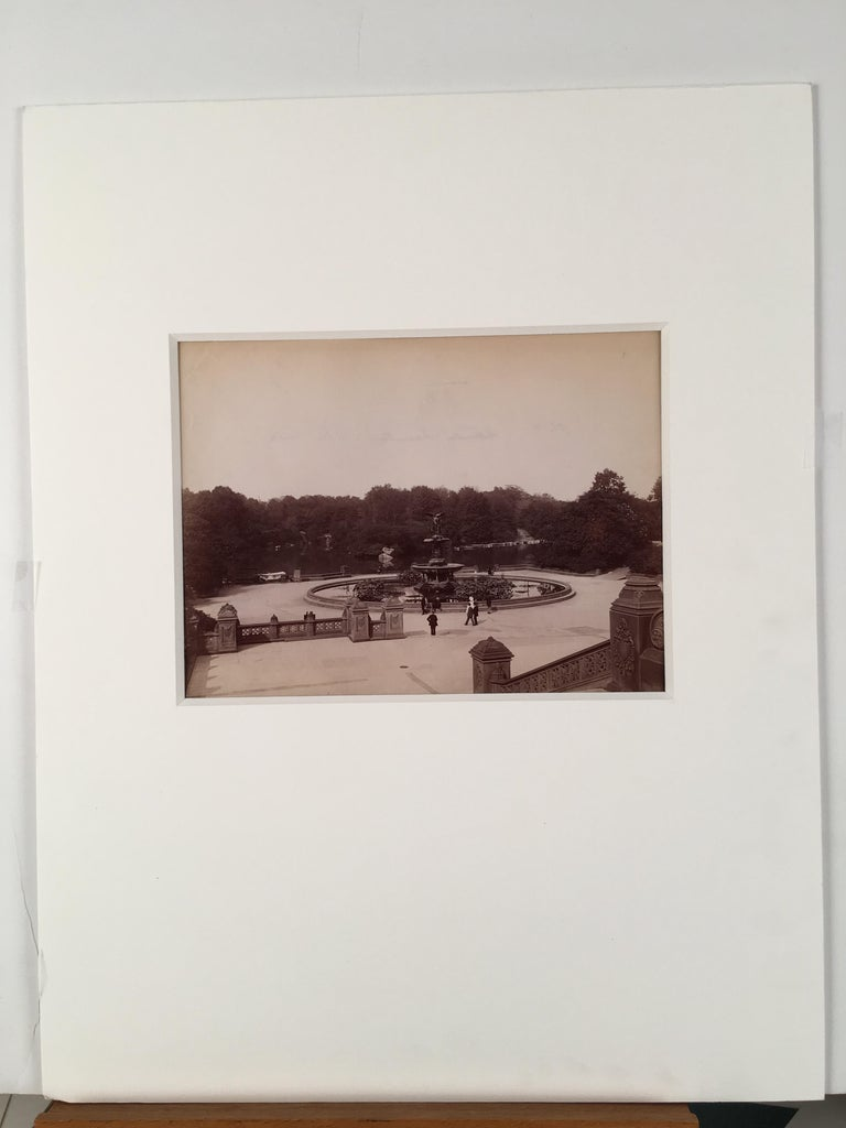 """C. 1875 photograph of """"Bethesda Fountain"""" in New York Cities' Central Park.  Image size: 6.5 x 8 .75 inches.  Matted in acid-free, 8-ply, soft white mat, external mat size: 18 x 14 inches."""