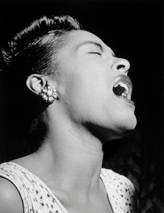 Billie Holiday Singing Passionately at the Downbeat Globe Photos Fine Art Print