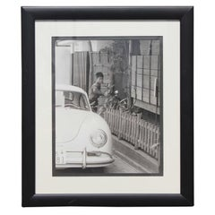 Black and White Japanese Photograph of a Porsche and Boy