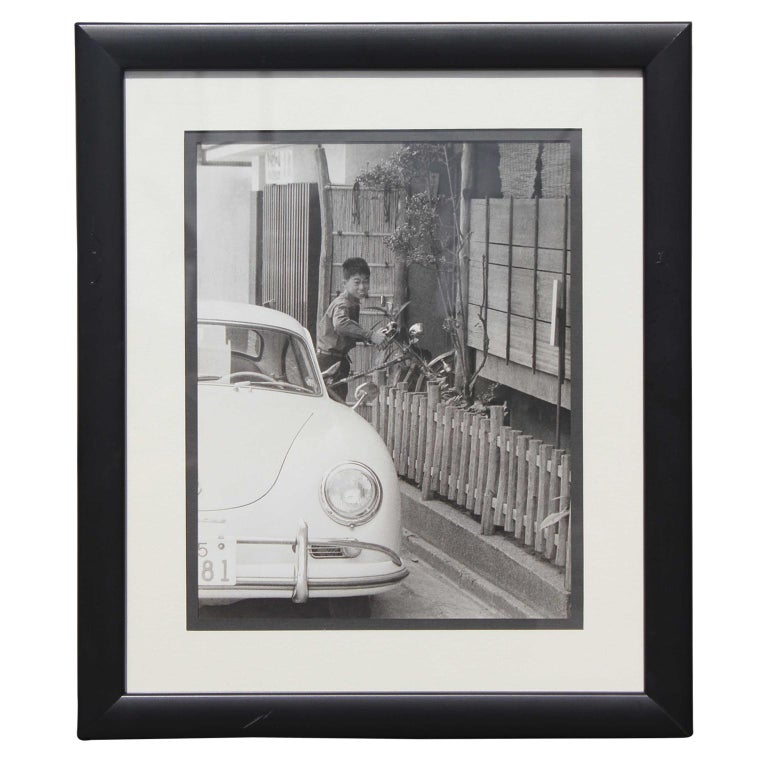 Unknown Portrait Photograph - Black and White Japanese Photograph of a Porsche and Boy