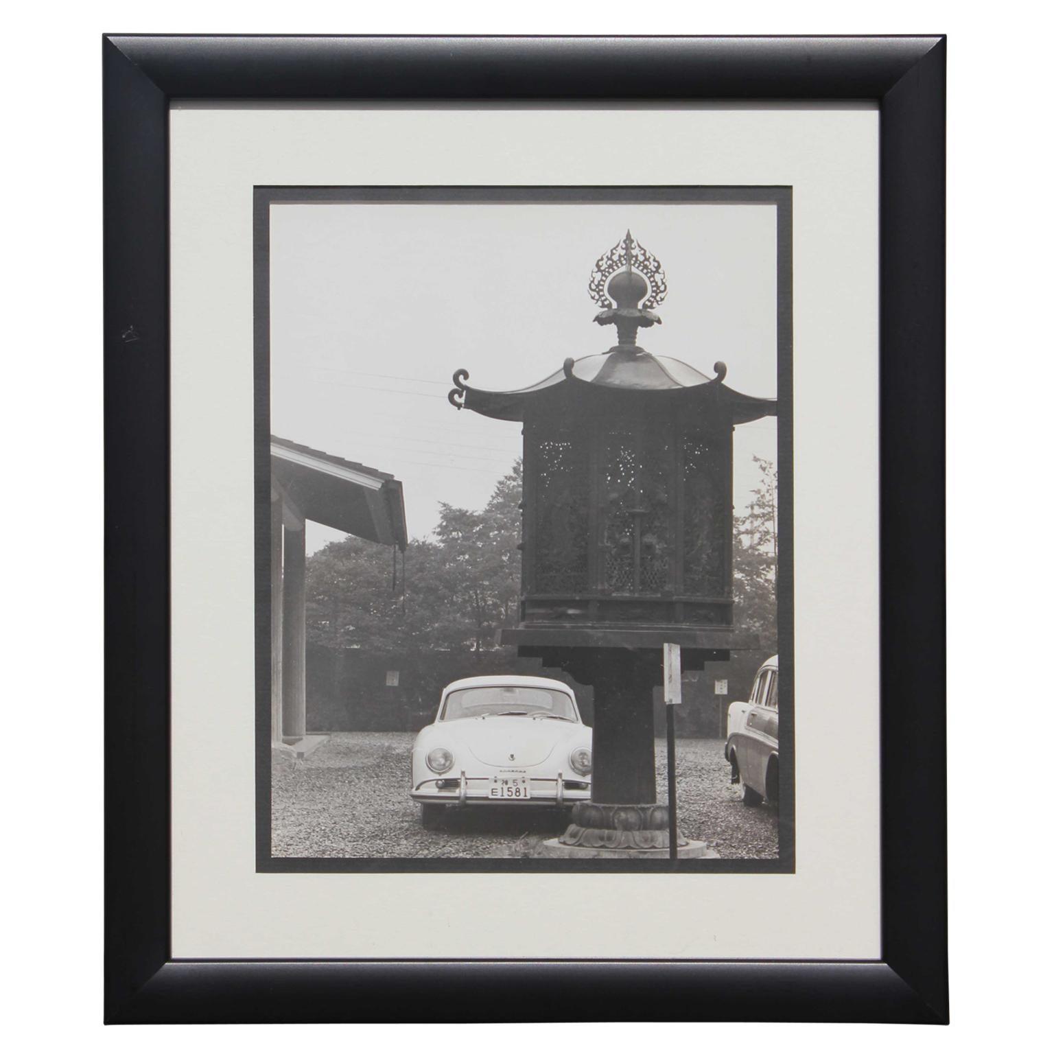 Black and White Japanese Porsche and Lantern Photograph