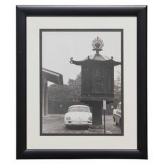 Black and White Japanese Porsche and Lantern Photograph