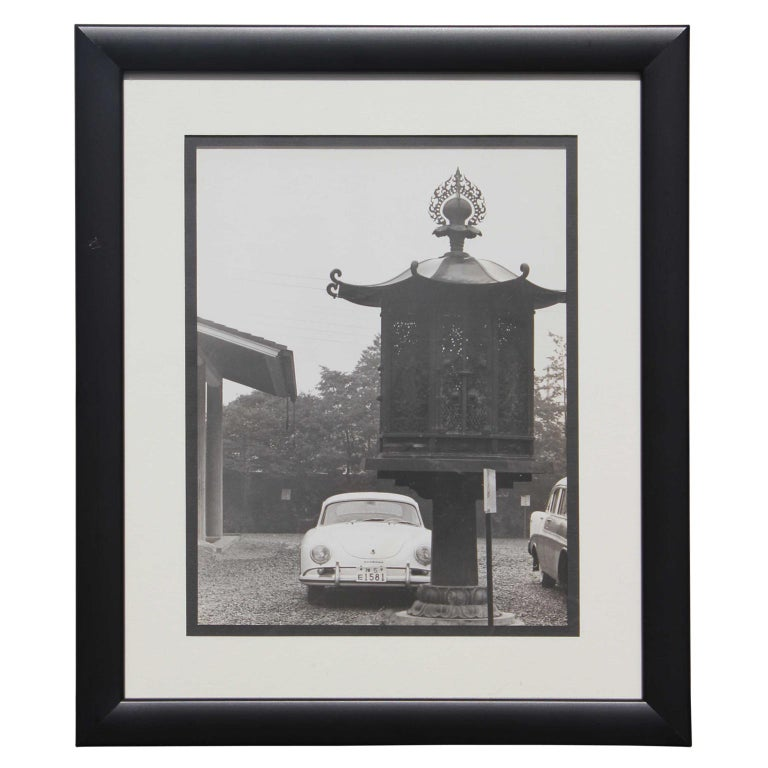 Unknown Still-Life Photograph - Black and White Japanese Porsche and Lantern Photograph