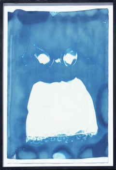 Blue Cyanotype Photogram of Woman's Garments