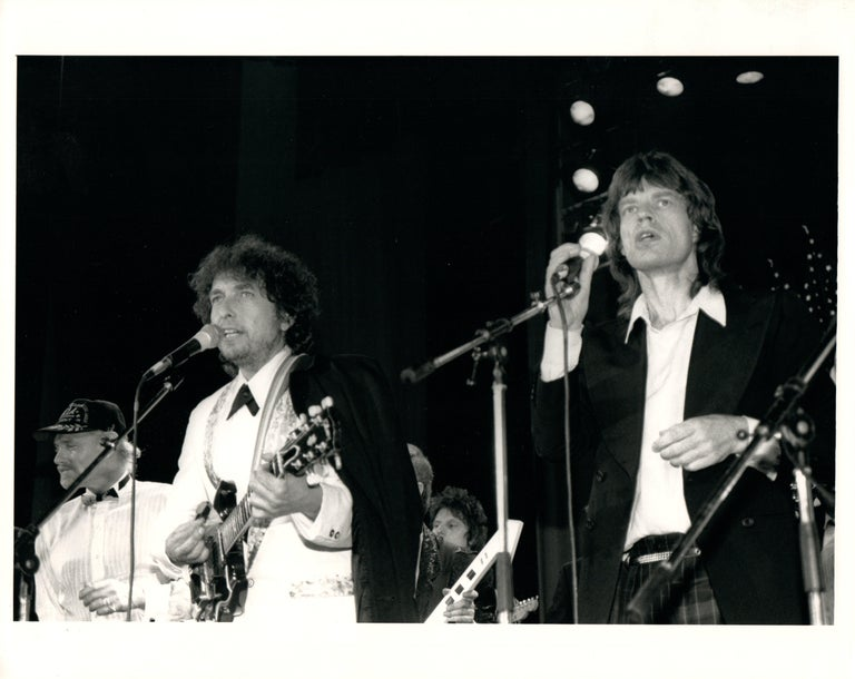 Unknown Black and White Photograph - Bob Dylan and Mick Jagger at the Hall of Fame Vintage Original Photograph