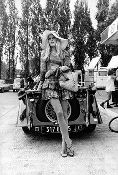 Brigitte Bardot Leaning on Classic Car Fine Art Print