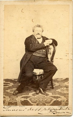 CDV with dedication and autograph by Alexandre Dumas-Original b/w Postcard- 1864