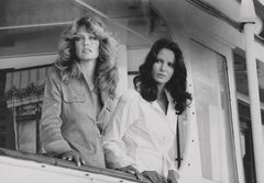 Charlie's Angels Farrah Fawcett and Jaclyn Smith Posed Smiling Fine Art Print