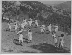 Children Playing Outdoors during Fascism in Italy- Vintage b/w Photo - 1930 c.a.