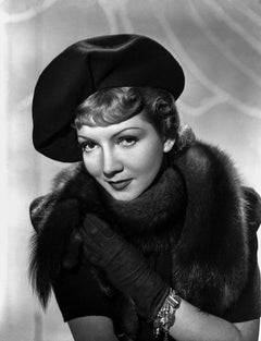 Claudette Colbert Glamour Portrait in Hat and Fur Movie Star News Fine Art Print