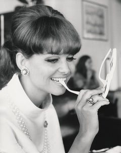 Claudia Cardinale Biting Glasses Fine Art Print