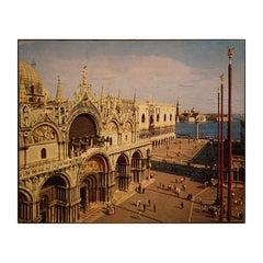 Colored Photograph St. Mark's Square Venice Plaza Scene