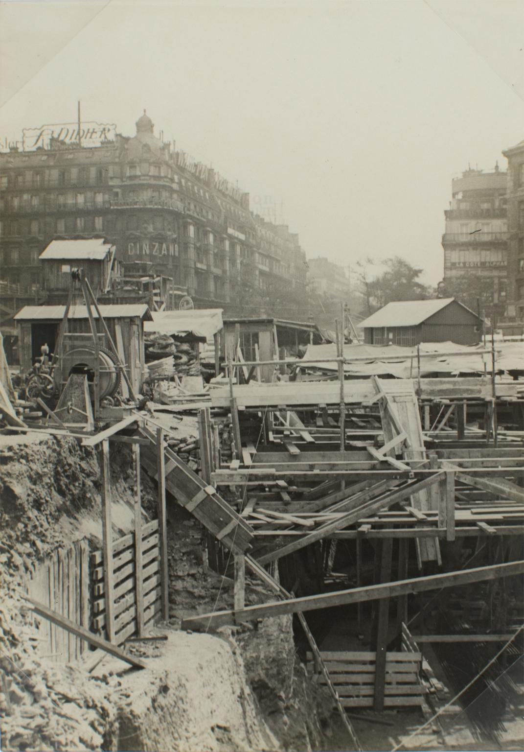 Construction Site in Paris 1926 - Silver Gelatin Black and White Photograph