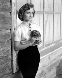 Debbie Reynolds Posed with Bouquet Fine Art Print