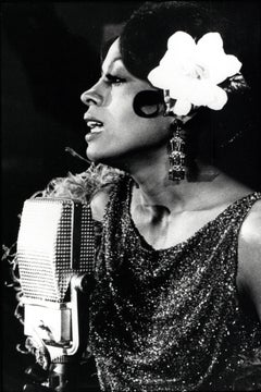 Diana Ross Singing with Flower in Hair Vintage Original Photograph
