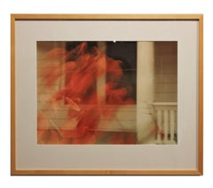 Double Exposure Red Floral Abstract Photograph with Architectural Background
