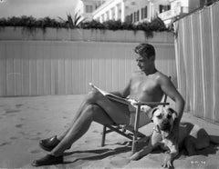 Douglas Fairbanks Jr. on Beach with Dog II Globe Photos Fine Art Print