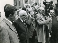 E. Berlinguer, F. Rosi and S.Pertini at the Funeral of L. Visconti -  B/w Photo