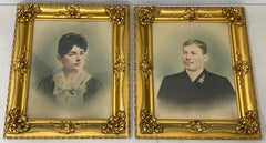 Early 20th Century Hand Colored Portraits of a Young Couple C.1900