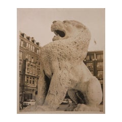 Early Black and White Photograph of a Foo Dog Sculpture