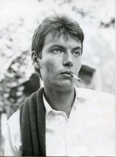 Early Portrait of Fabrizio De André -  Vintage B/w Photo - 1960s