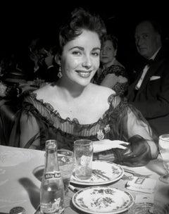 Elizabeth Taylor Candid at Dinner Globe Photos Fine Art Print