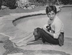 Elizabeth Taylor Holding Cat Poolside Fine Art Print