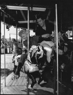 Elvis Presley and Barbara Stanwyck on Carousel Vintage Original Photograph