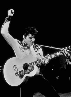 Elvis Presley Playing Guitar on Stage Globe Photos Fine Art Print