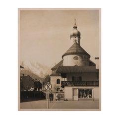 European Architectural Bridal Shop Black and White Photograph
