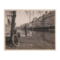 European Canal Fisherman Early Black and White Photograph