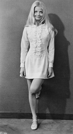 Ewa Aulin in White Mini Dress Vintage Original Photograph