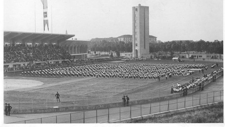 Unknown Figurative Photograph - Fascism - Balilla Outdoor Exhibition . Vintage photo 1934 ca.