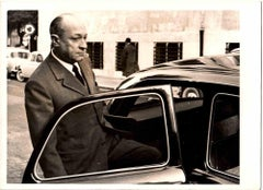 Fraschetti Gets off his Car - Vintage B/W photo-1960s